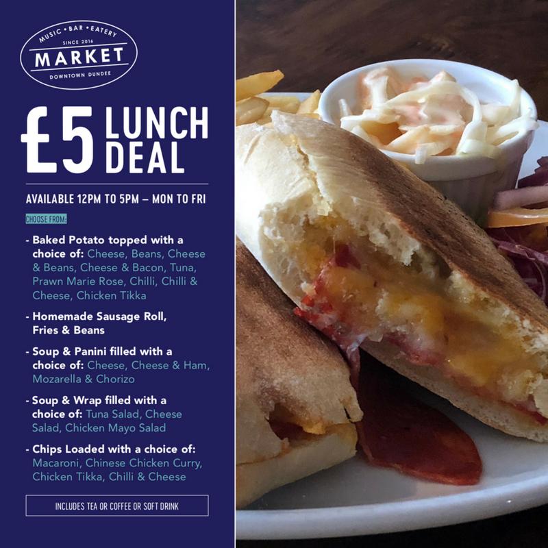 £5 lunch deal menu.