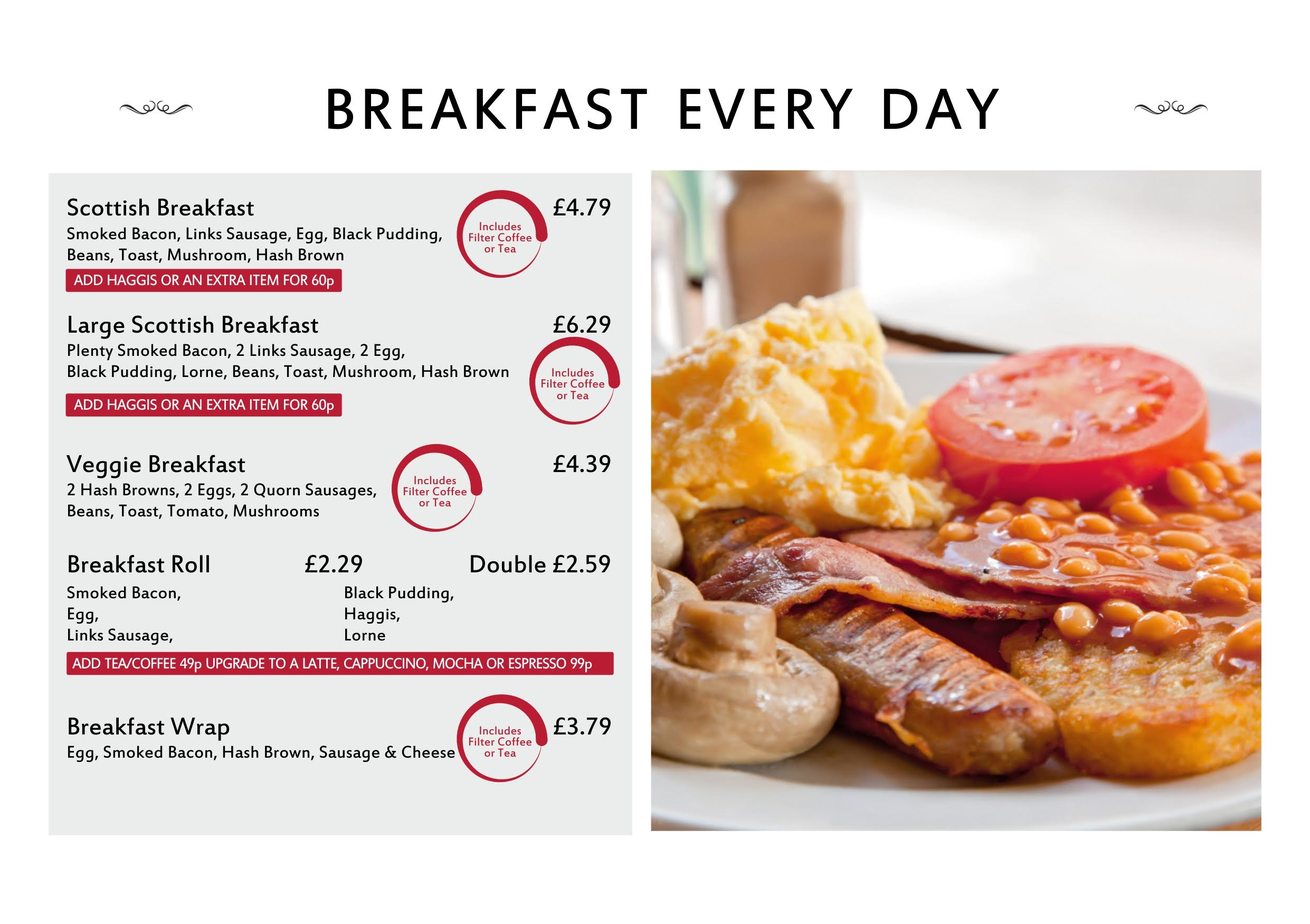 Breakfast menu - breakfast every day