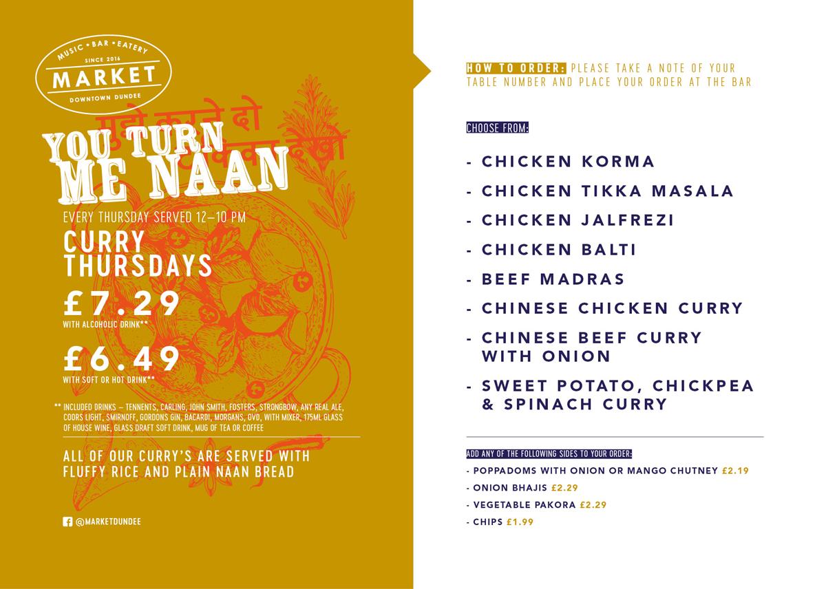 Curry Thursday menu.