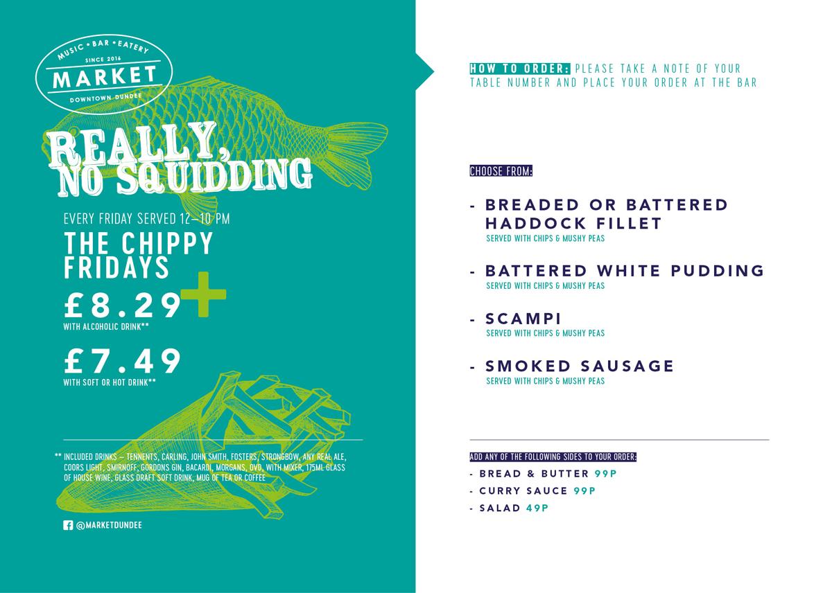 Chippy Friday menu.