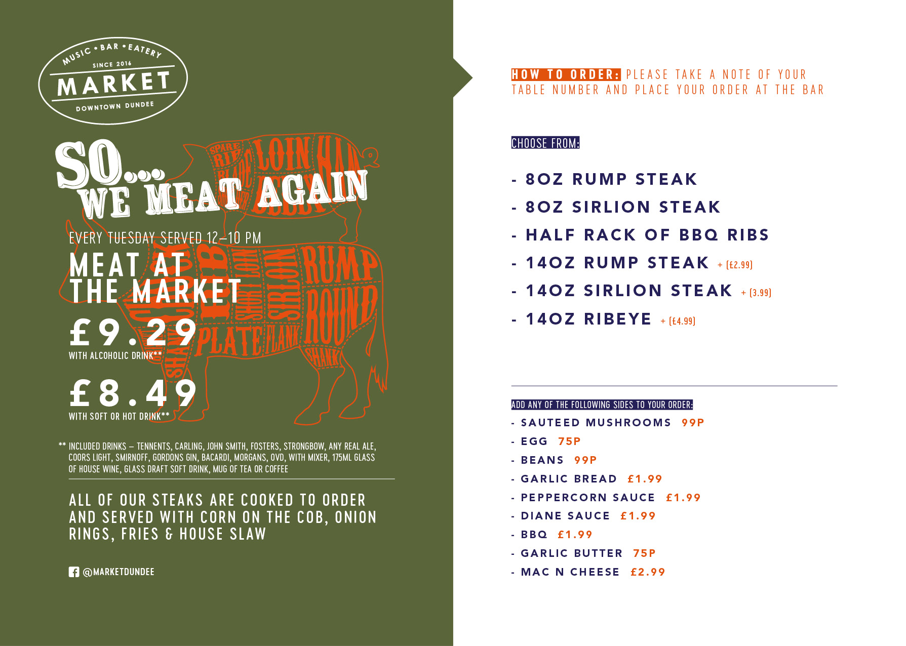 Meat Tuesday menu.