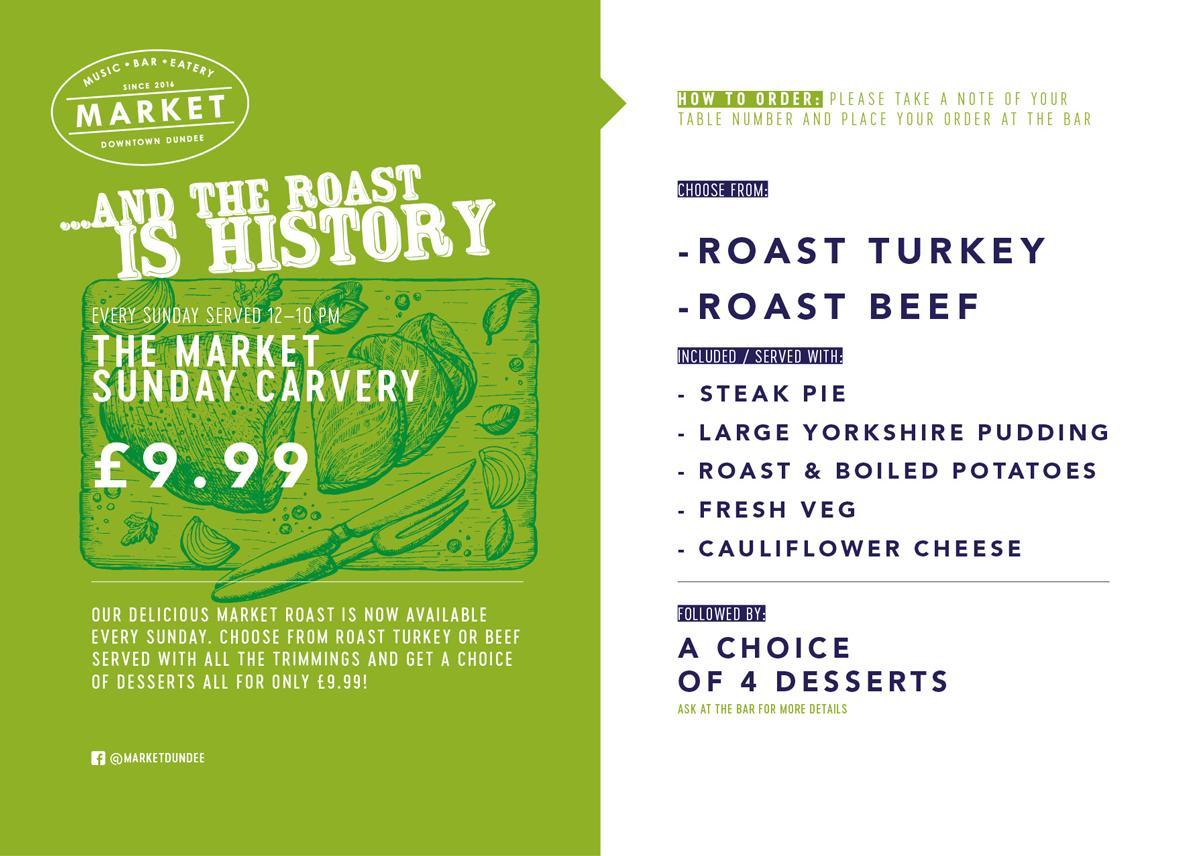 Sunday Roast menu.