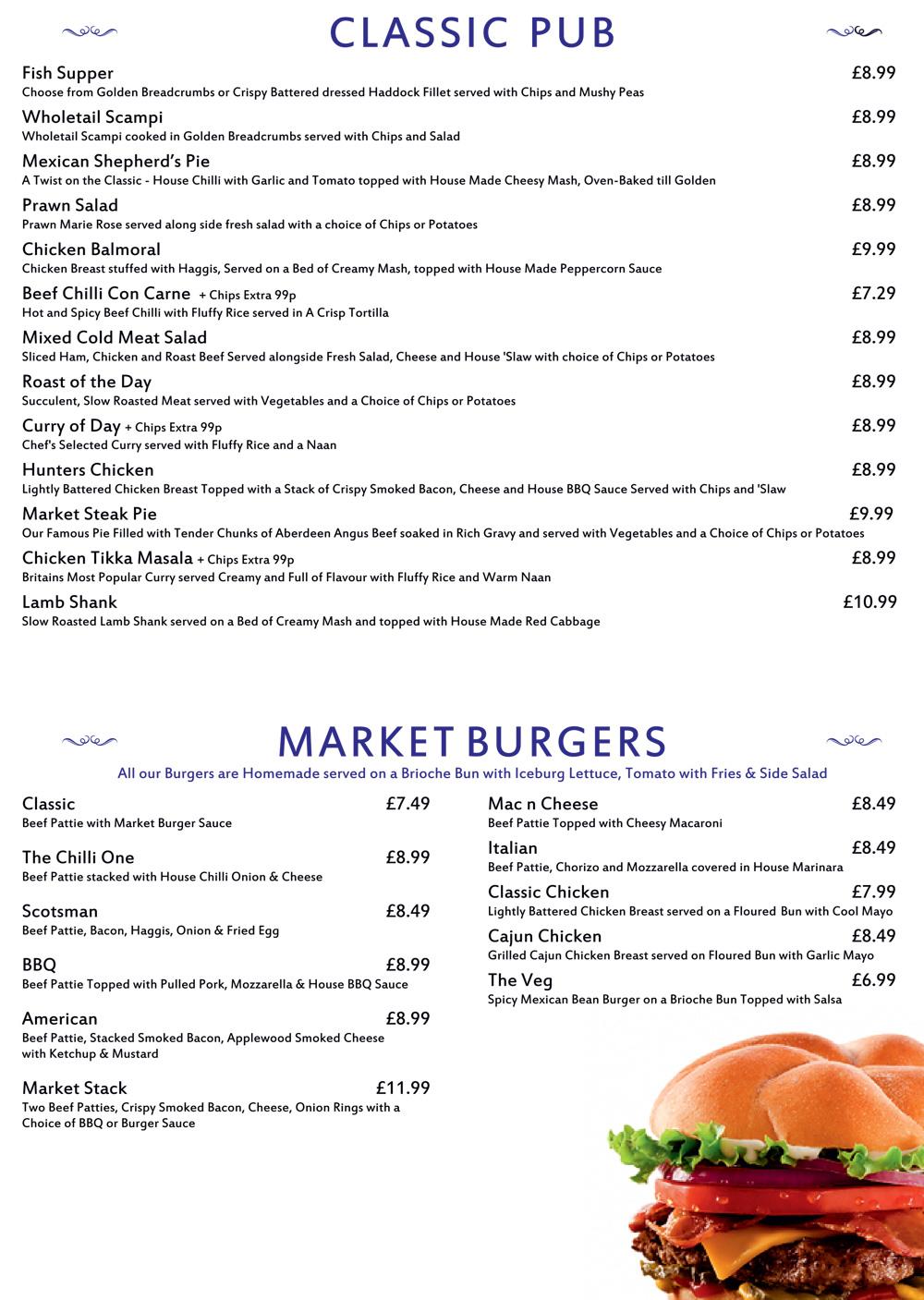 classic pub menu
